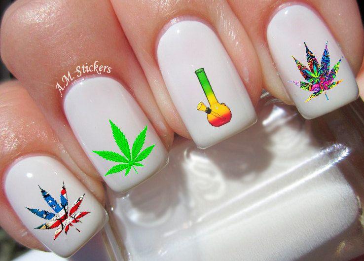40 Marijuana Nail Decals | Nail decals, Nail stickers and Salons