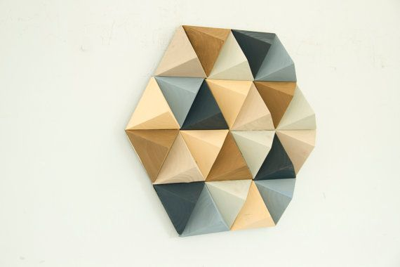 Wood Wall art geometric, hexagon, mid century wall art, SALE unique ...