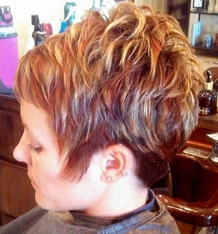 Womens Short Hair Cut With Red And Blond Highlights