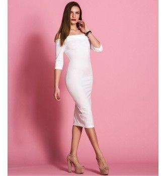 5c4cfe8fe678 Έξωμο Midi Φόρεμα - Λευκό