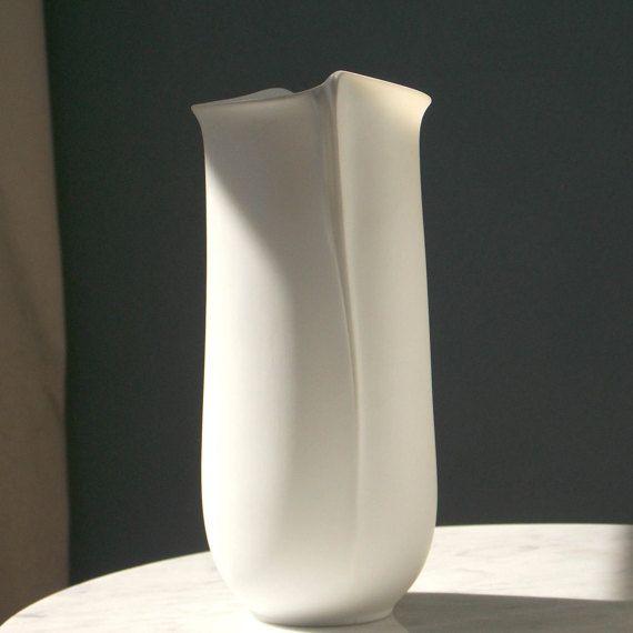 Modernist White Vase Modern Hutschenreuther Vase Op Art Vase German