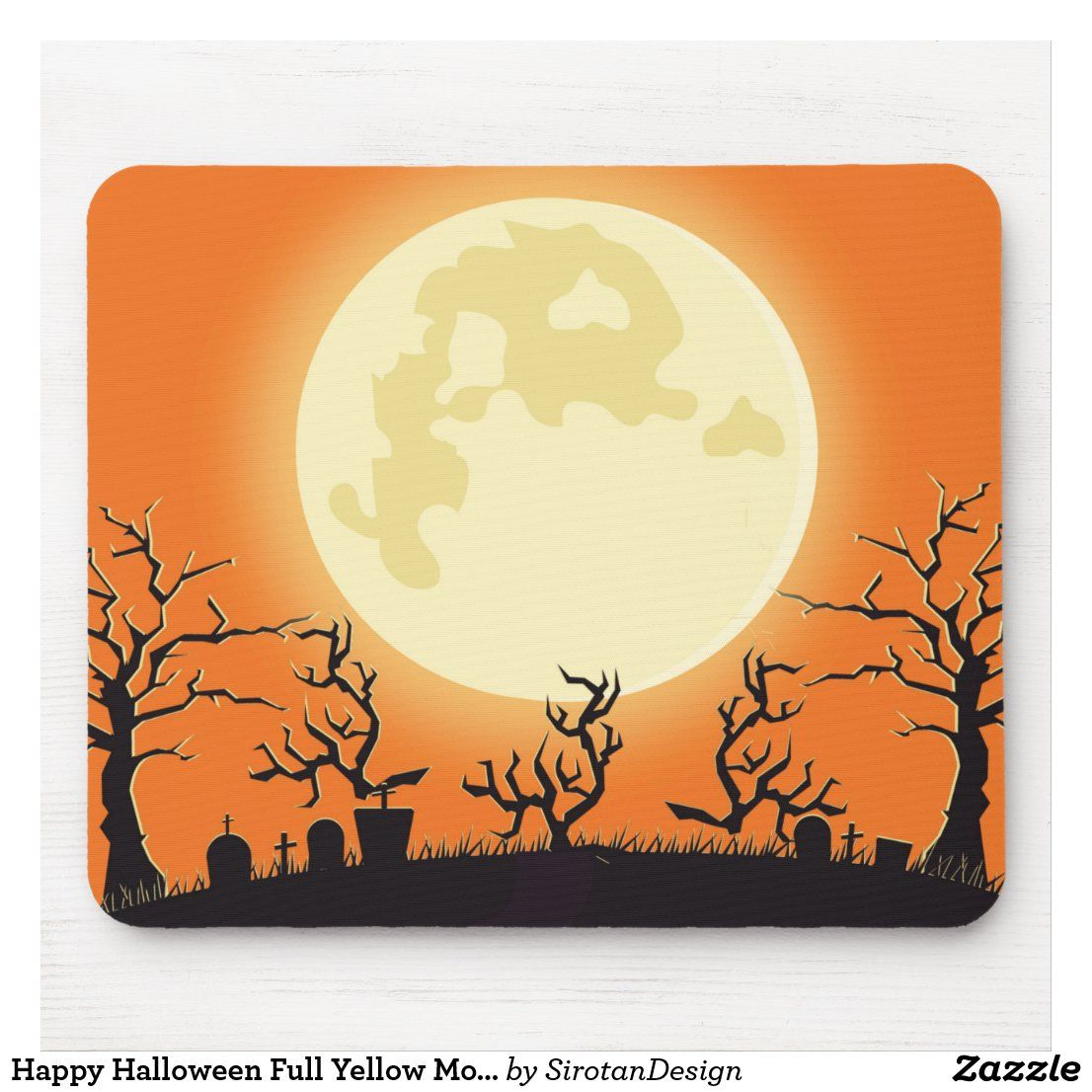 Happy Halloween Full Yellow Moon Moonlight Ghost Mouse Pad Zazzle Com In 2020 Yellow Moon Happy Halloween Fun Mouse Pad