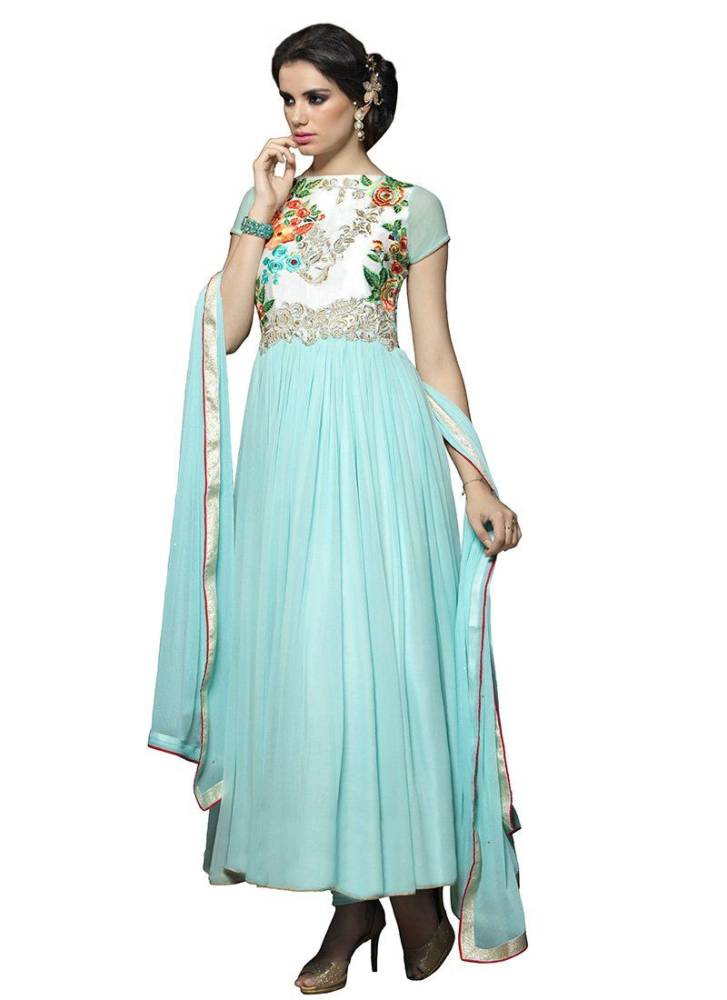 Off White N Turquoise Ankle Length Anarkali Suit | New suits ...