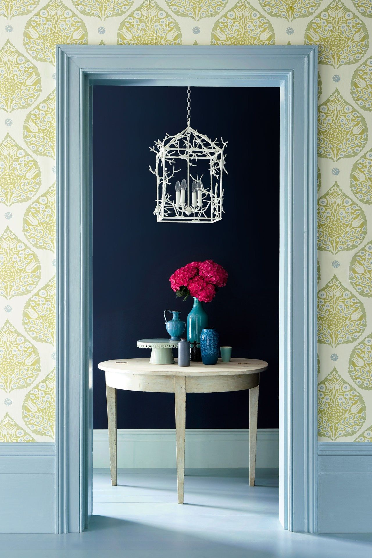 Hallway wallpaper or paint  Room design ideas for decorating with something blue  Home from