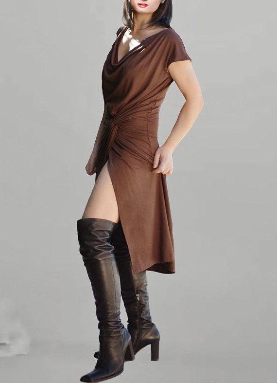 Draped tunic dress in chocolate/Shirred tunic/Jersey by Danideng, $69.00