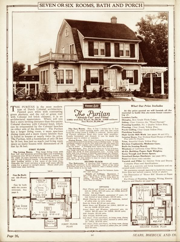 From The 1925 Catalog Heres The Sears Puritan The Sears Kit Home That Ruth Swards Father Built For He Vintage House Plans Dutch Colonial Dutch Colonial Homes