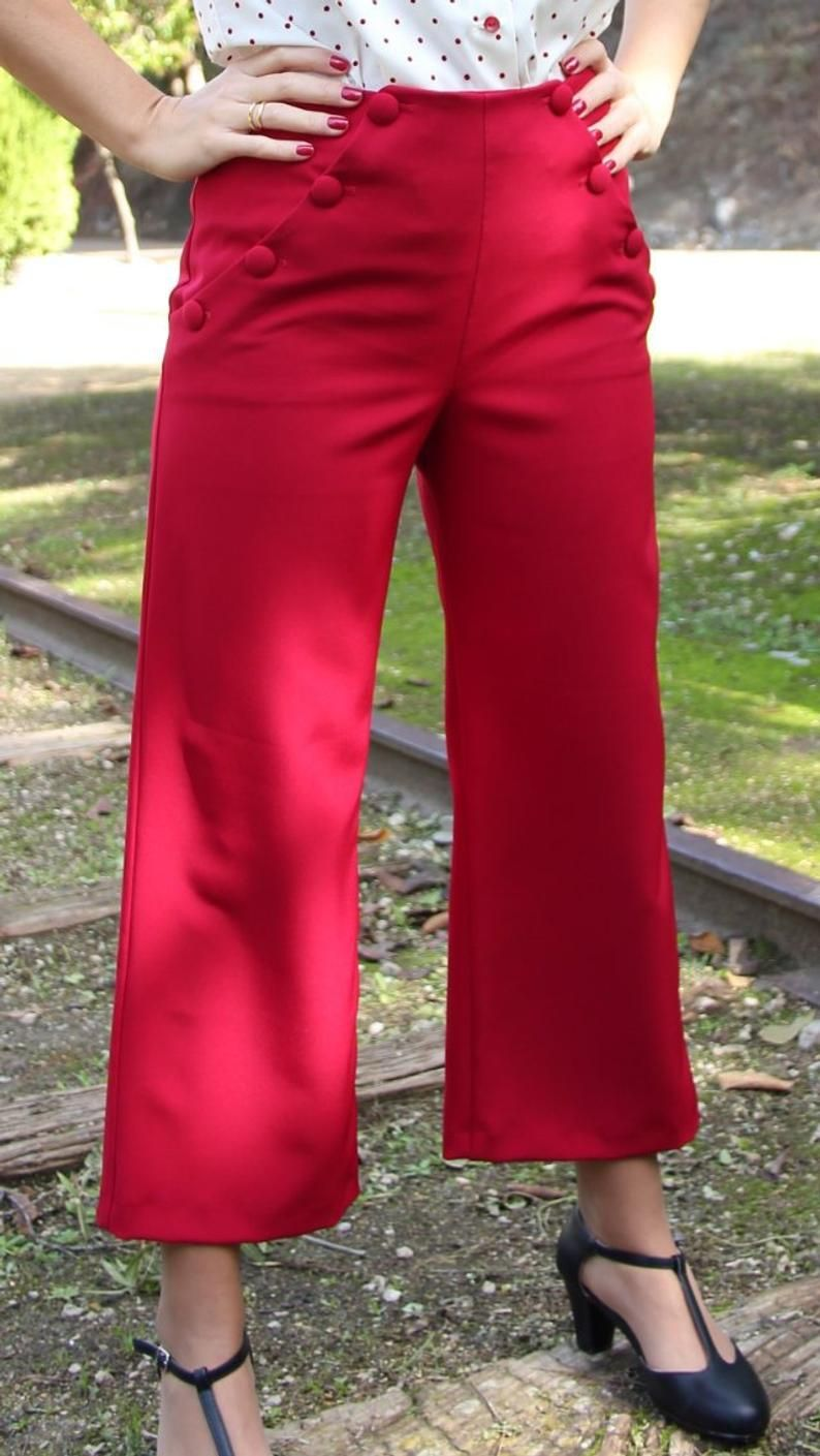 Vintage Style Pants Sailor Pants High Waisted Pants Ankle Pants Sustain Clothing Pantalon Tiro Alto Ropa Pantalones
