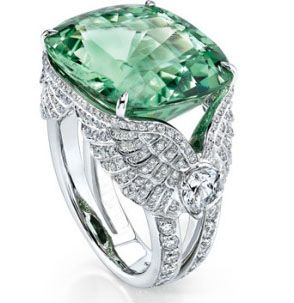 Green Beryl and Diamond Ring