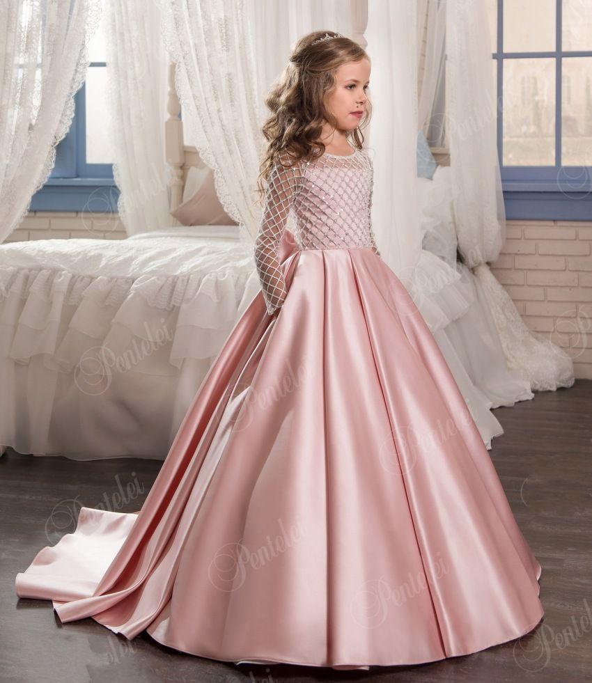 Barato Rosa elegante Vestido Da Menina Flor de Cetim crianças da ...