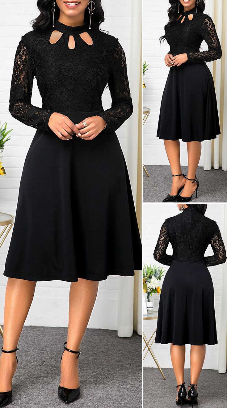 Long Sleeve Black Lace Patchwork Dress
