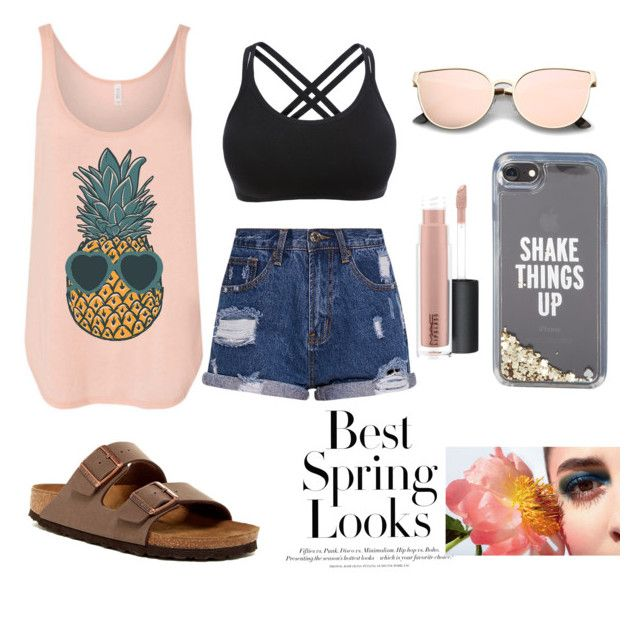 """""""spring love"""" by arkatonic on Polyvore featuring Birkenstock, Kate Spade, MAC Cosmetics and H&M"""