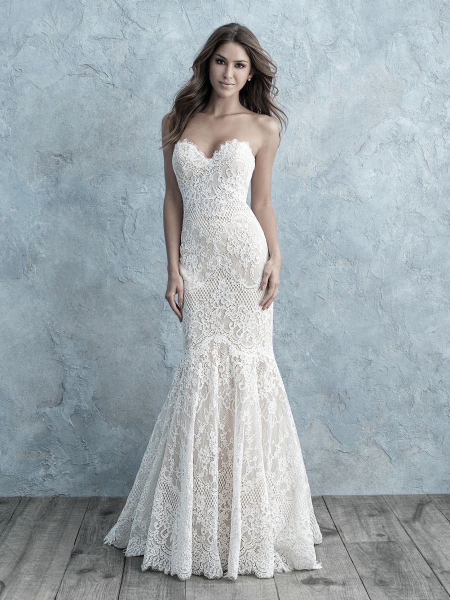 Style 9676 Allure Bridals Strapless Wedding Dress Mermaid Wedding Dresses Peach Bridesmaid Dresses