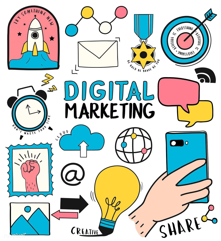 Hand Drawn Set Of Digital Marketing Symbols Illustration Free Image By Rawpixel Com In 2020