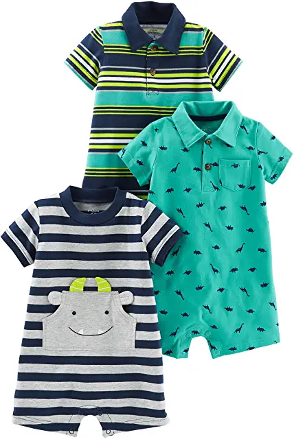Simple Joys By Carter/'s Boy/'s 3-Pk Long Sleeve Tops Gray//Navy//Red Stripe