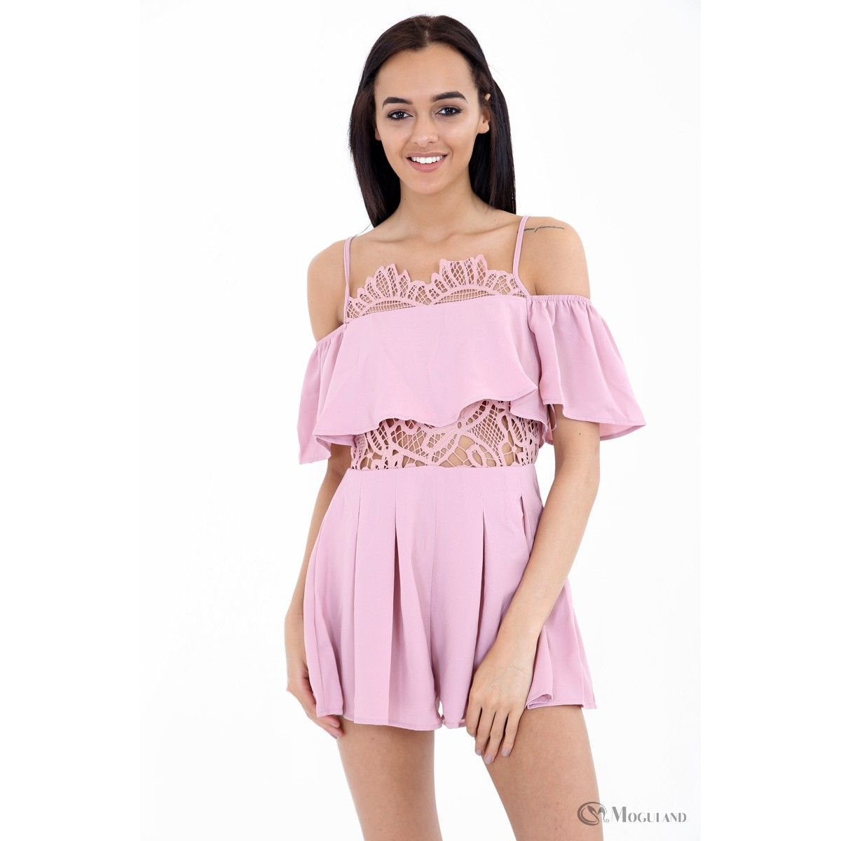 c15e681f40 Ladies pink off the shoulder flounce crochet playsuit wholesale - new  in  playsuits -