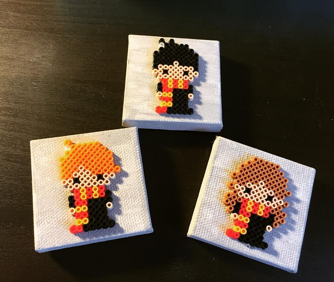 Harry Potter mini magnets for my niece ❤️ #miniperlerbeads #magnets #perlerbeads #perler #harrypotter #ronaldweasley #harmionegranger