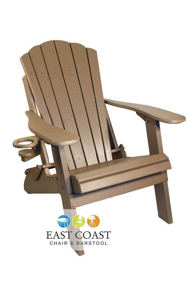 Clearance Outer Banks Economy Poly Wood Folding Adirondack Chair With Cup Holder Outerbanks Folding Adirondack
