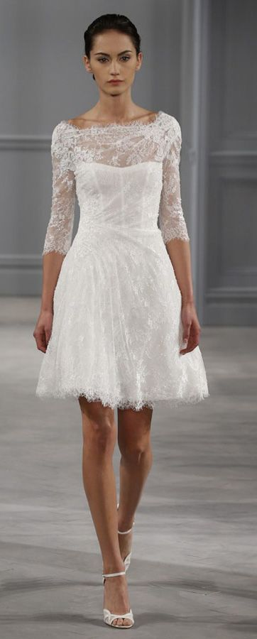 Monique Lhuillier Short Wedding Dress Could Use A Bling Belt At The