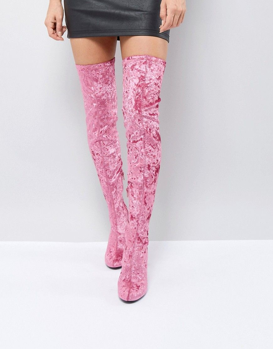 7bf65eac530 Truffle Collection Crushed Velvet Over The Knee Boot - Pink