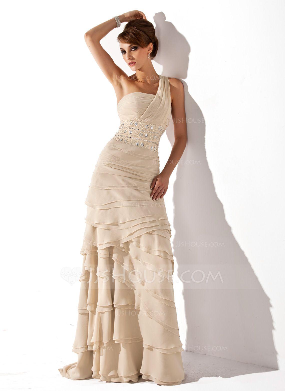 Forme Princesse Encolure asymétrique alayage/Pinceau train Mousseline Robe de mère de la mariée avec Emperler Robe à volants (008006056) - JJsHouse