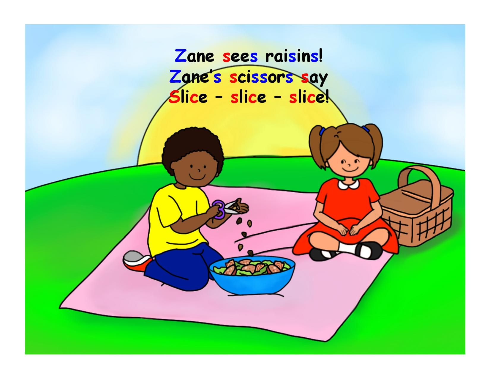 Page 7. This book is part of a series of books created by LEADERSproject.org for children with a repaired cleft palate. Children should practice targeted sounds 100 times a day so this book, targeting S and Z, allows children to do so with family or alone.