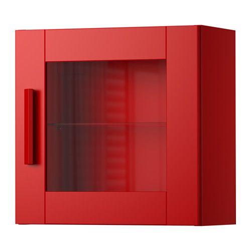 IKEA - BRIMNES, Wall cabinet with glass door, red, , Behind the ...