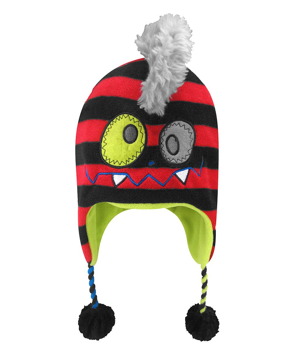 Love this igloos red u gray monster mohawk earflap beanie by igloos