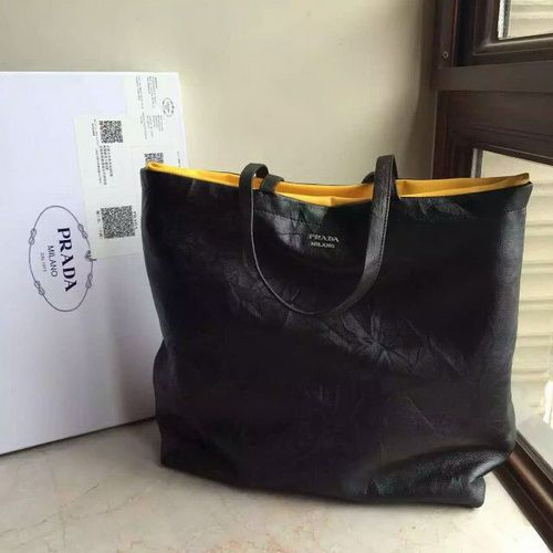 a50e4016bb65 Prada Soft Reversible East-West Tote, Black/Yellow | Prada Soft ...