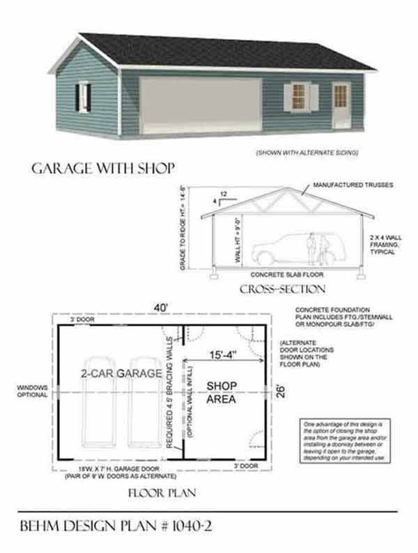 Garage With Shop Plan 1040 2 40 39 X 26 39 By Behm Design