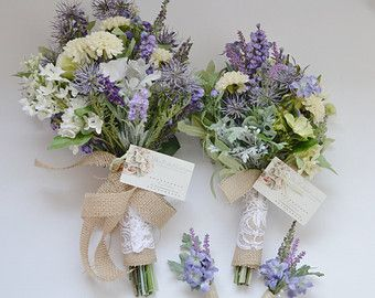 Wildflower Bouquet Lavender Turquoise Teal Purple