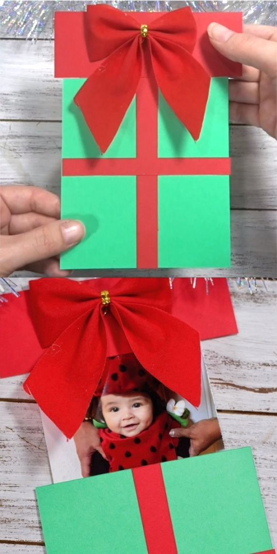 Christmas Present Photo Pop Up Card With Video Christmas Diy Kids Christmas Cards Christmas Cards Kids