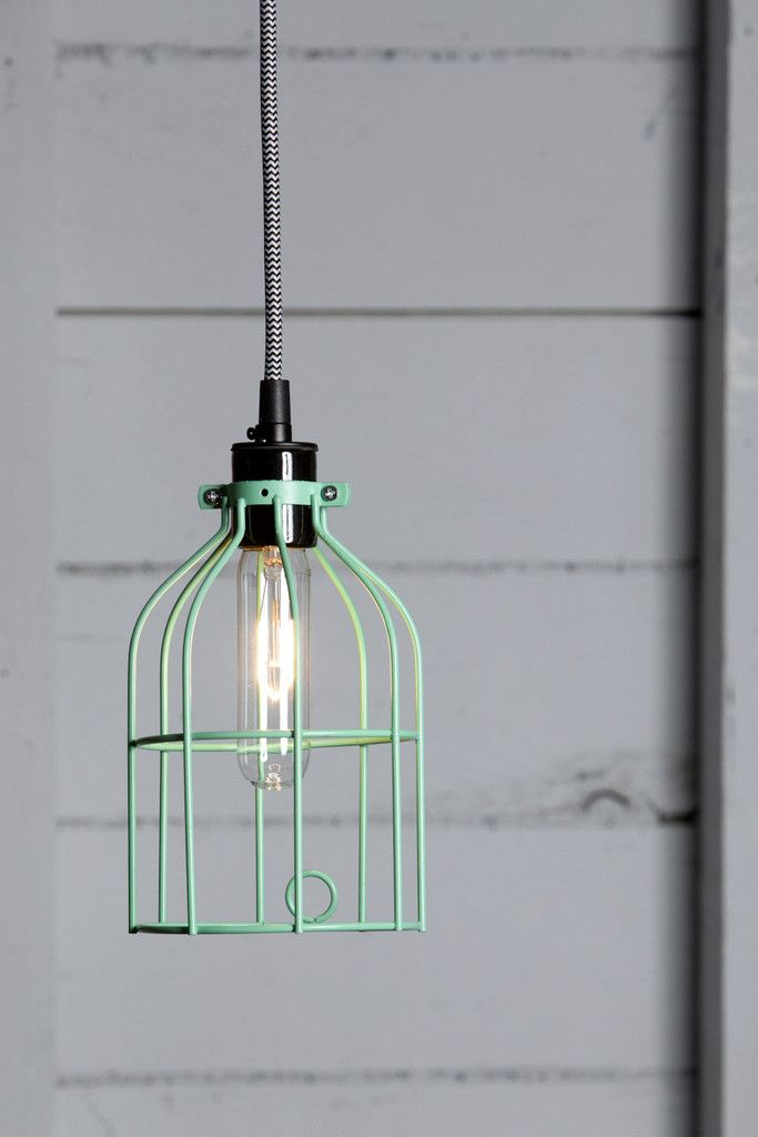 Industrial Pendant Lighting Mint Green Wire Cage Light Cage