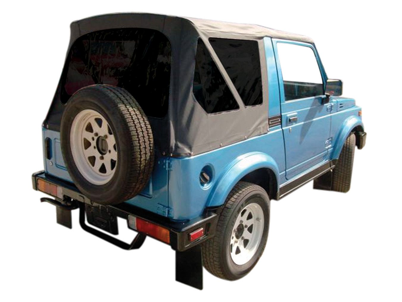 Suzuki samurai with a rampage products soft top available in black with clear windows