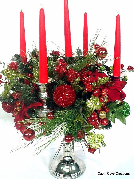 Red Lime Christmas Centerpiece 5 arm silver Candelabra Candle ...