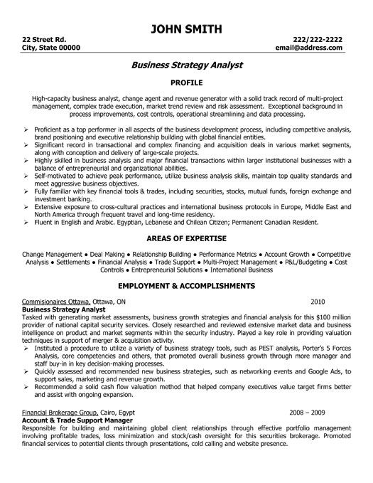 banking business analyst resume