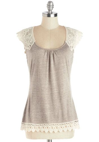 Grace and Lace Top - Sheer, Knit, Tan, Solid, Crochet, Lace, Cap Sleeves, Festival, Spring, Summer, Mid-length
