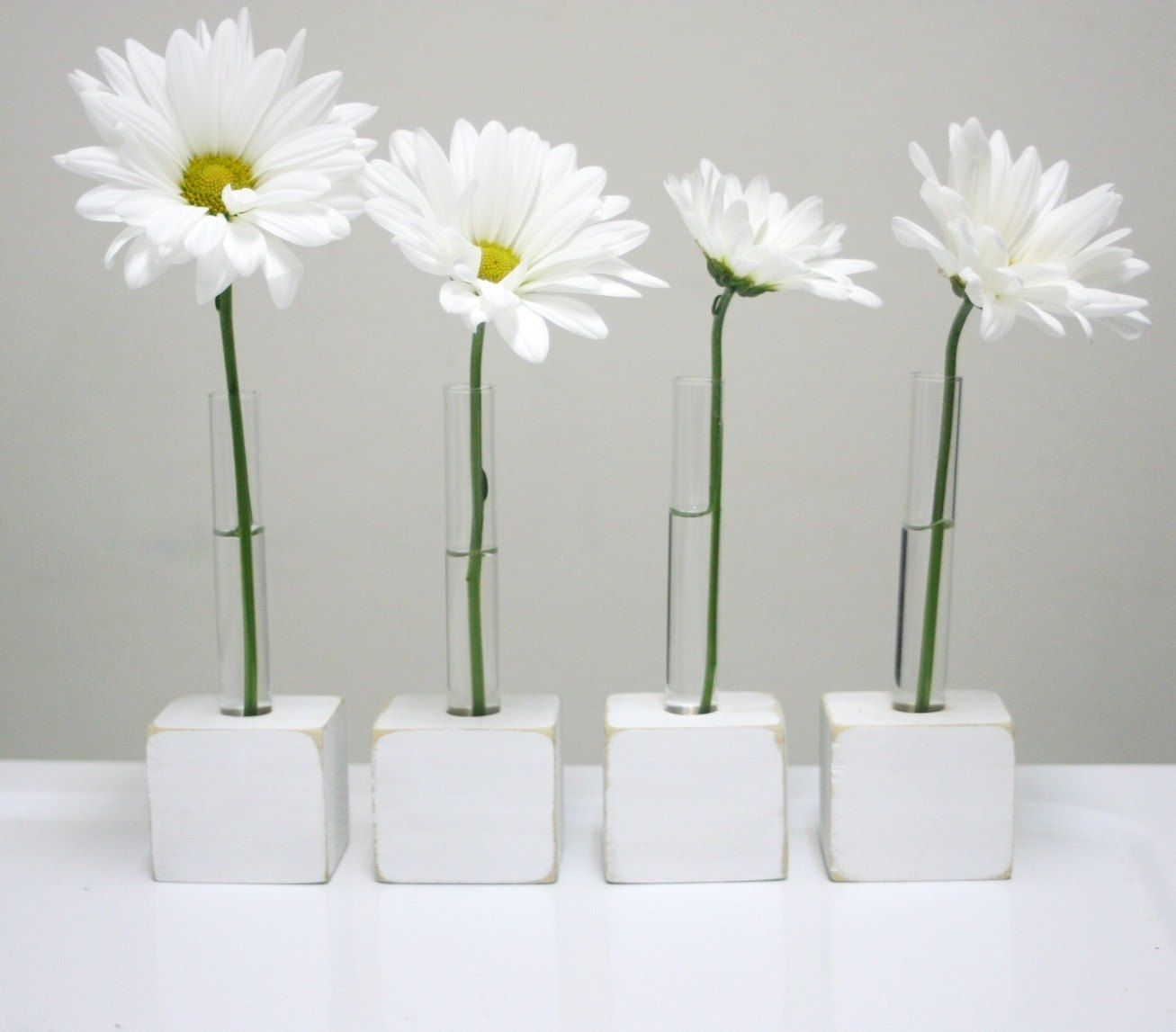 gerbera daisies feel appropriately playful and mod in stem  - bud vases with test tubes set of four made to order small for singleflower flower vase white custom order two options