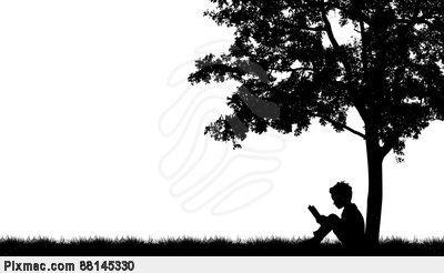 Silhouettes of children read book under tree | Silhouette ...