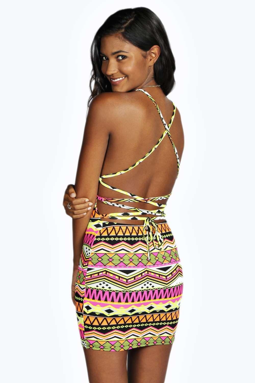 5f867d8e8c Aztec Strappy Back Bodycon Dress multi   FashionToDieFor