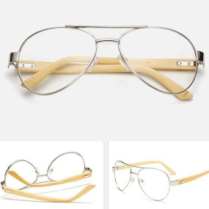 pilot handmade sliver bamboo glasses frame plain lens for women and ...
