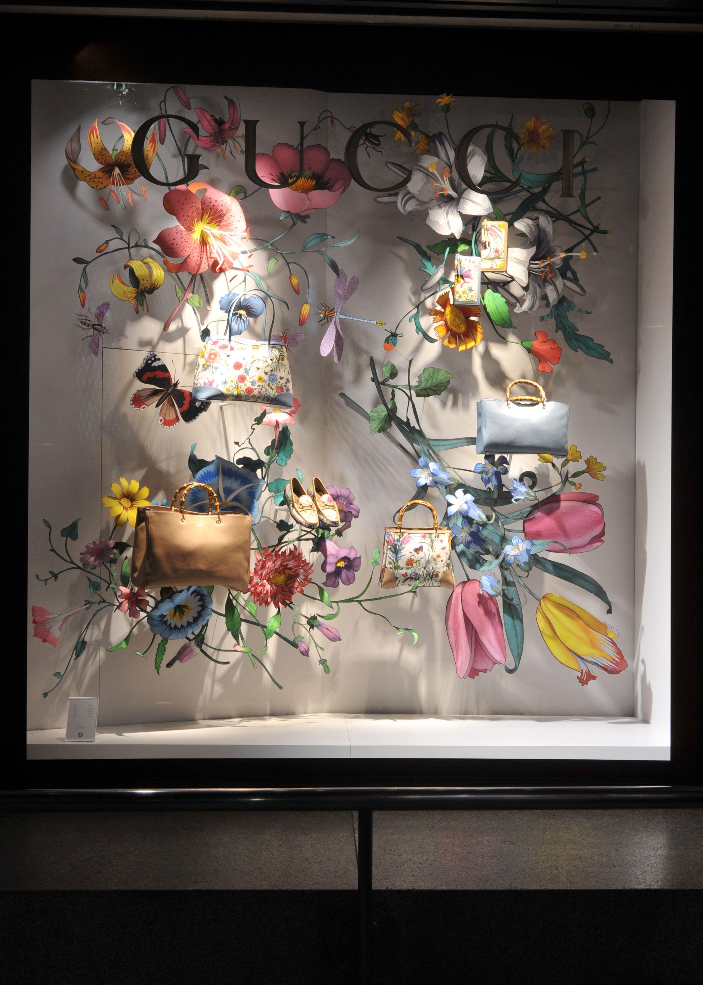 Summer Floral Window Display At Gucci Retail Merchandising