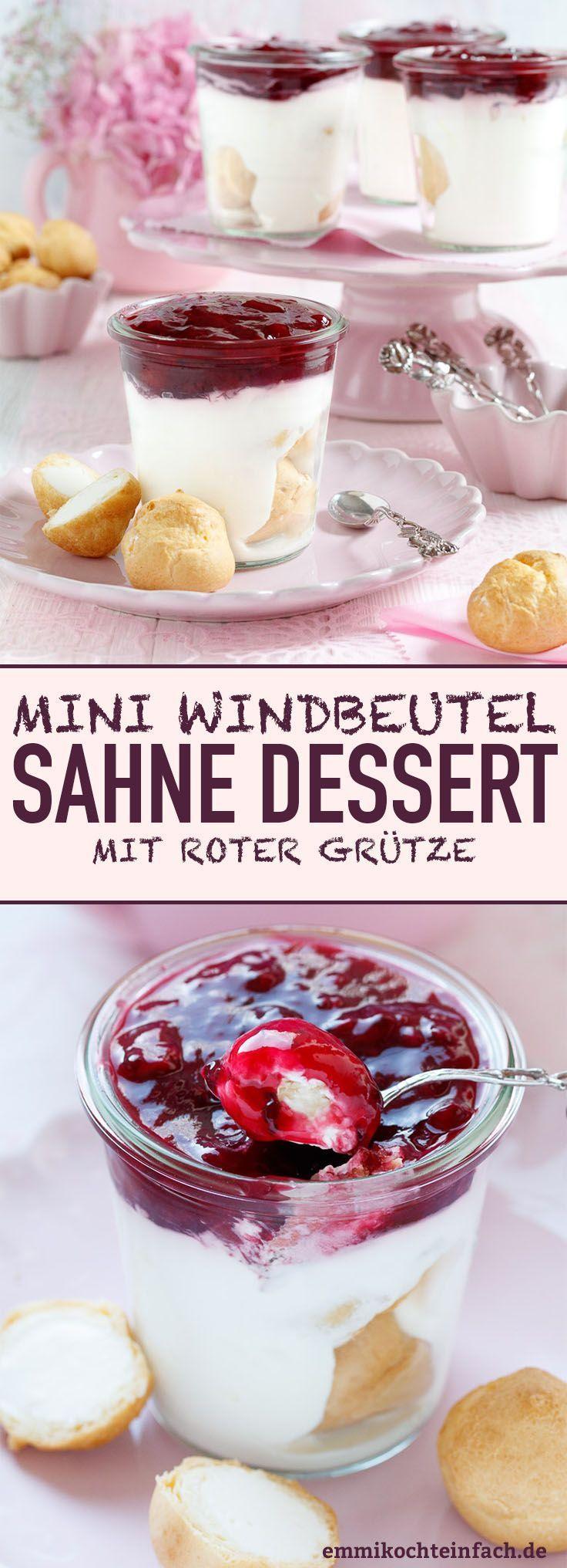 Mini-Windbeutel Sahnedessert mit roter Grütze #creamdesserts