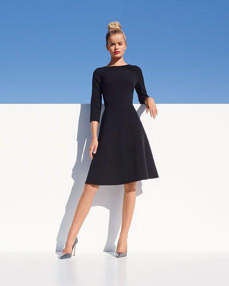 Lela Rose 3/4-Sleeve Boat-Neck A-Line Dress, Black