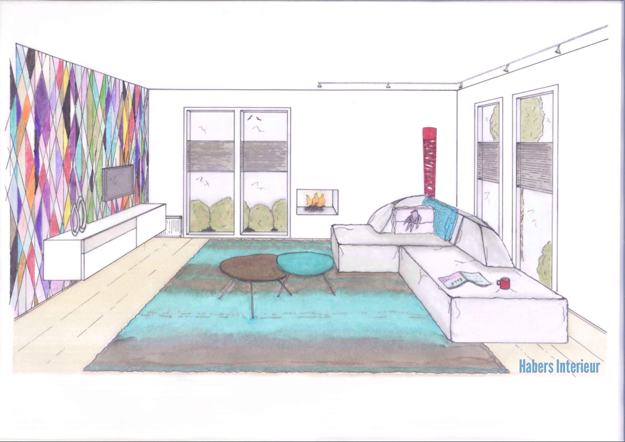 Perspectief van een woonkamer by habers interieur