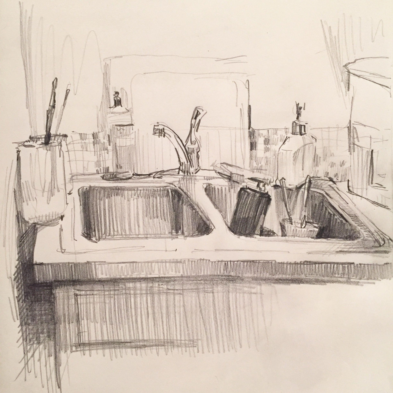 Kitchen Sink Realism Art: The Kitchen Sink. #art #drawing #sketch #sketchbook By