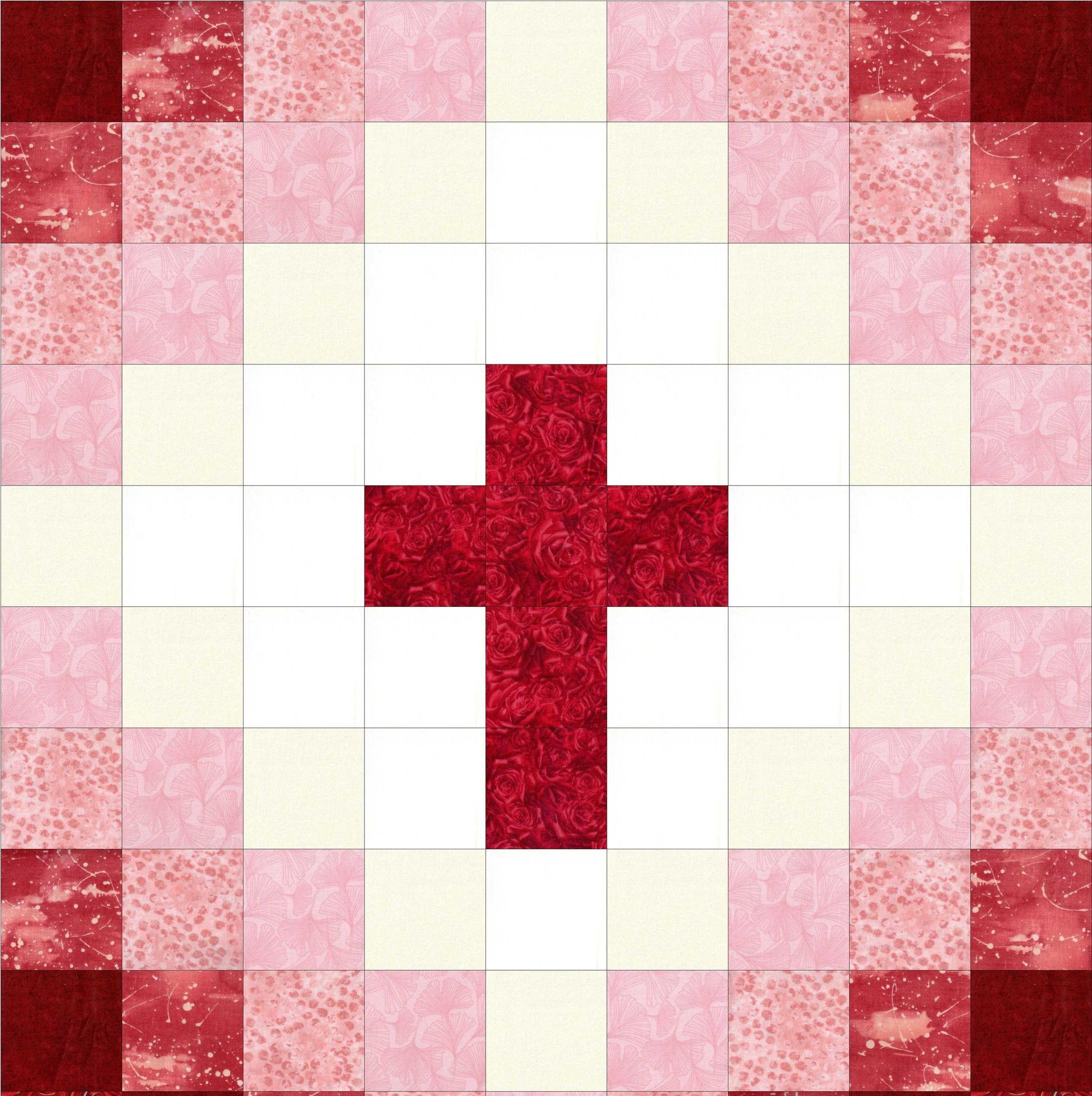 This easy to sew religious cross quilt kit can be made into a perfect baby quilt with beautiful red tones from white to dark red. Perfect beginner quilt kit for wall-hangings, baby quilts, table toppe
