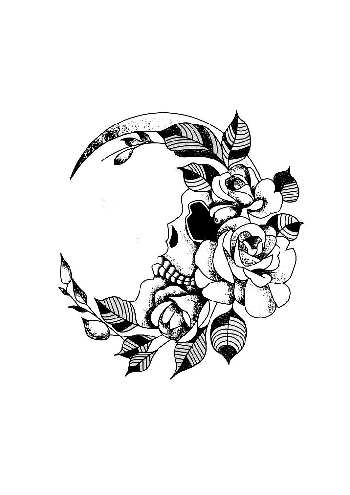 Flower crescent moon skull wrist tattoo design black  white. Designer: Andrija P…