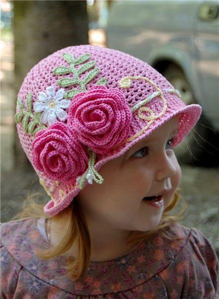 Pink Baby Hat with Roses Crochet Pattern | Tejidos para bebe y niños ...