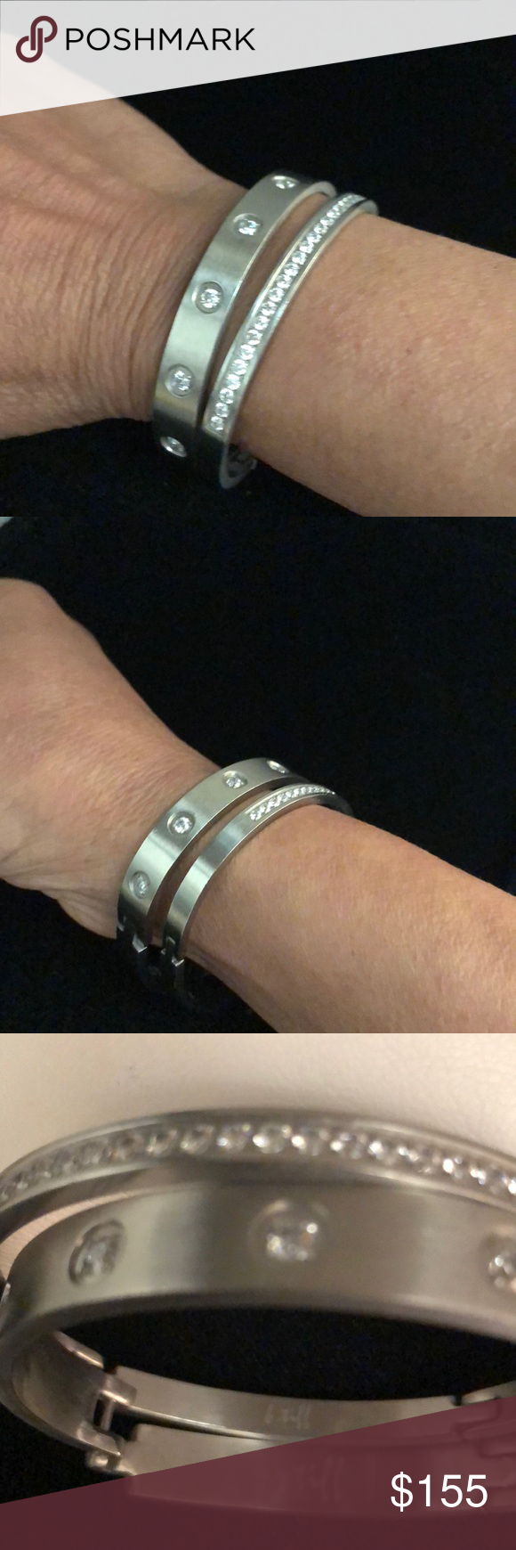 B Tiff Set Of 2 Silver Steel Bracelets Now Here S A Steal For You At Dealers Price These Bangles In Much Demand Are Bracelets Steel Bracelet Silver