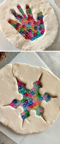 Make these fun salt dough suncatchers kids craft with your littles using pony beads! You can do their hand print OR a cookie cutter!